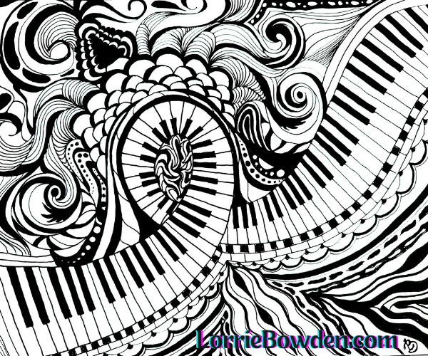 FLOATING PIANO KEYS ZENTANGLE ART